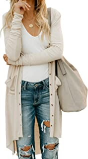 Women Long Sleeve Solid Color Button Down Knit Ribbed Cardigans Outwear