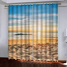 AiiHome Beach Curtains, Blackout Curtains with HD Printed Seaside Beach, Blue Sky and Sunset, Grommet Curtains for Living Room Bedroom, 2 Panels, 52 X 63 Inch, Blue Yellow