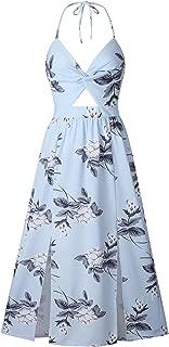 Sleeveless Halterneck Deep V Neck Twisted Cut Out Front Pleated Floral Side Split Slit Long Maxi A-Line Dress