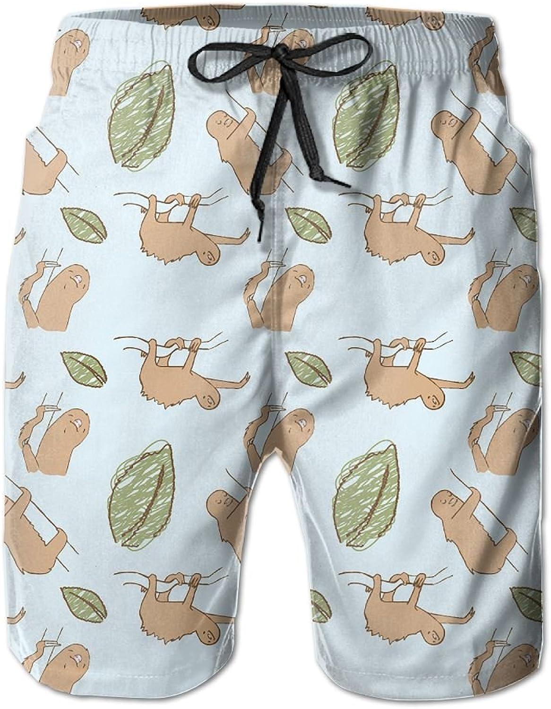 Beach Pants Sloth And Leaves Men's Workout Gym Short Shorts Pockets Sweatpants Waist Tension Design