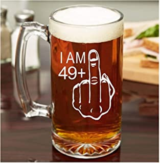 50th Birthday Gift for Men 49 Middle Finger 50th Birthday Glass Beer Mug Whiskey Glass Funny Adult Birthday Present Birthday Gift