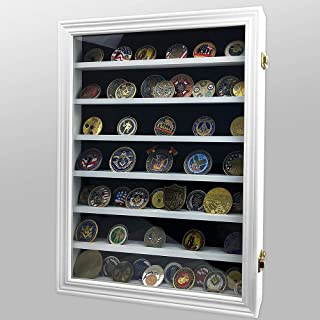 AtSKnSK Challenge Coin Display Case Box 7 Rows Military Coin Holder Stand Rack Shadow, Glass Door - White Finish