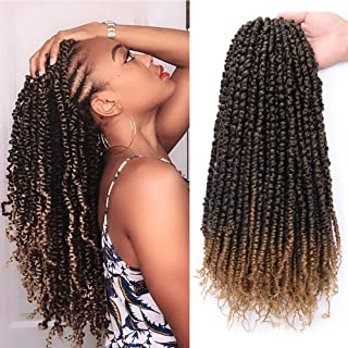 18 Inch Pre-twisted Passion Twist Crochet Hair Braids 6Packs/Lot Pre-looped Ombre Passion Twist Braiding Hair Curly Spring Pre-twisted Braids Synthetic Crochet Hair Extensions(T1B/27)