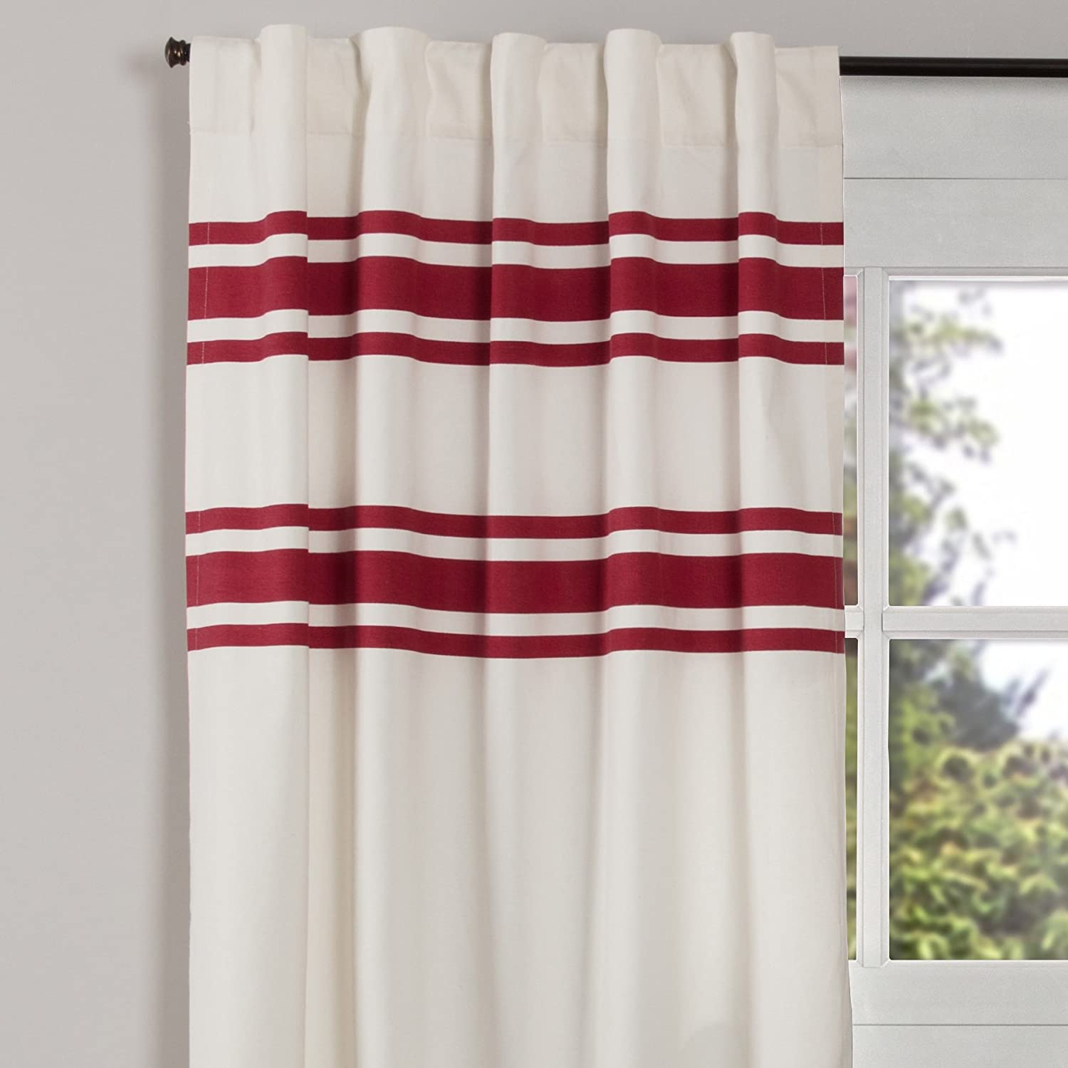 Piper Classics Silo Hill Red Stripe Panel Curtains, Set of 2, 84  Long, Farmhouse Style Antique White Drapes