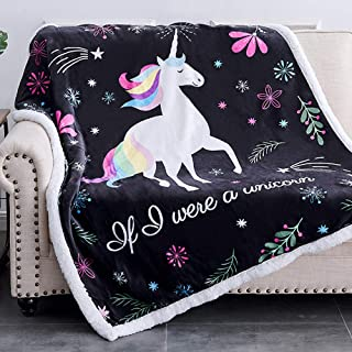 Kids Castle Unicorn Fleece Blanket for Girls Sherpa Throw Blanket 50x62 inches Fuzzy Plush Soft Cozy Warm Reversible Blanket for Couch Bed-Travel Unicorn Throws Unicorn Gifts for Women Pastel Violet
