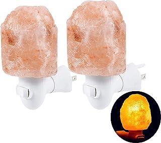 Authda Himalayan Salt Enchufe de la lámpara en Purificador de Aire Ajuste Brillo Rose Rock Lámpara Montada en la pared Mini sal Luz Varias formas Luz del Hogar 1 Pieza Rosa (Forma natural 2 pieza)