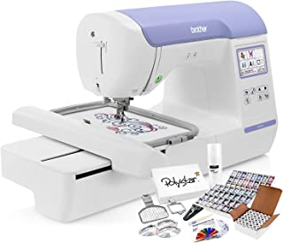 Brother PE800 Embroidery Machine + Grand Slam Package Includes 64 Embroidery Threads + Prewound Bobbins + Cap Hoop + Sock Hoop + Stabilizer + 15,000 Designs + Scissors