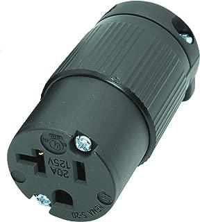 Journeyman-Pro 520CV 20 Amp 120-125 Volt, NEMA 5-20R, 2Pole 3Wire, Straight Blade, Female Plug Replacement Cord Connector Outlet, Commercial Grade PVC (BLACK 1-PACK)