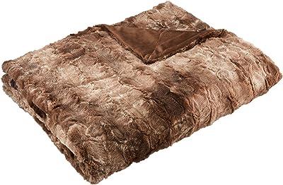 Amazon Brand – Pinzon Faux Fur Throw Blanket - 50 x 60 Inch, Alpine Brown