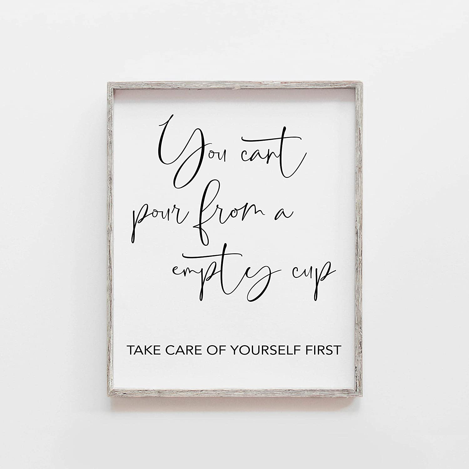 Popular product Farmhouse Frame Wood Sign Self Care Quote from latest You pour can't