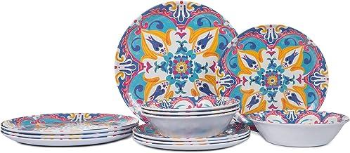 مجموعة أطباق وأطباق من يموست - طقم أواني طعام من الميلامين 12 قطعة، خدمة لأربعة أشخاص، مقاومة للكسر، بنمط الزهور