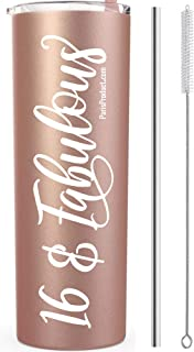 16 & Fabulous 20 Oz Stainless Steel Rose Gold Tumbler   Sweet 16 Party Supplies  Sweet 16 Gifts For Girls  Sweet 16 Decorations  Sweet 16 Caketopper   16th Birthday Party Supplies  16th Birthday Gifts