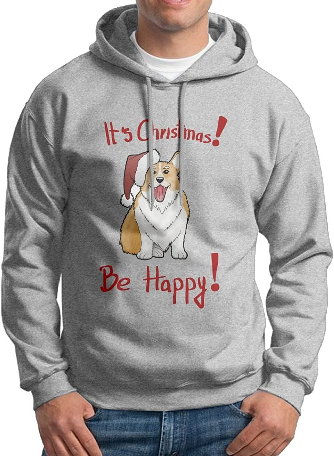 Fashion Men's Athletic Corgi It's Christmas Be Happy Print Soft & Cozy Drawstring Hooded Without Pocket Hoody Black