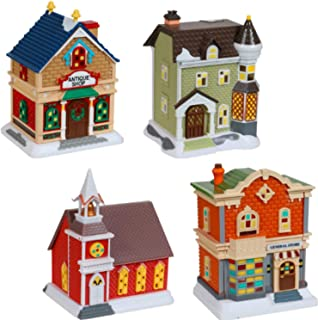 Christmas Village - Decoritive Mini Buildings (4 Pc) New 2020 Holiday Collection Set - Church General Store Antique Shop C...