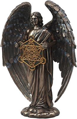 "Ebros Talmudic Judaism Metatron Angel Holding Sacred Flower of Life Geometric Cube Statue 10"" H Angelic Celestial Scribe Prophet Enoch Figurine"