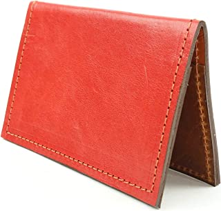 Minimalist Wallet in Red Leather with RFID Blocking