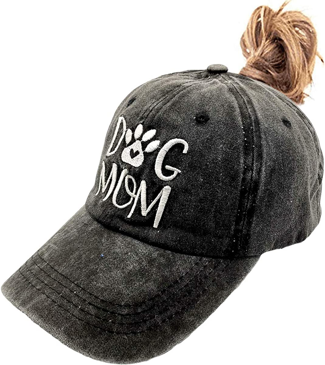 LOKIDVE Women's Dog Mom Ponytail Hat Embroidered Messy High Bun Distressed Baseball Cap