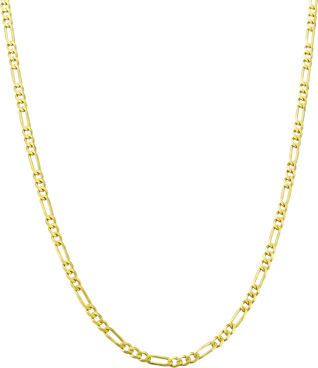 Nuragold 10k Yellow Gold 2mm Figaro Chain Link Pendant Necklace, Womens Mens Jewelry 16