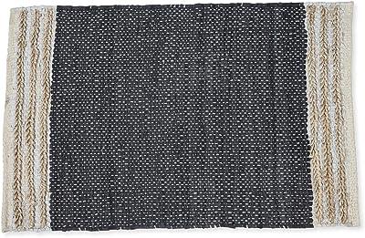 Boho Traders Sumak Handloom Area Rug Leather Jute Sumak Handloom Area Rug, Black