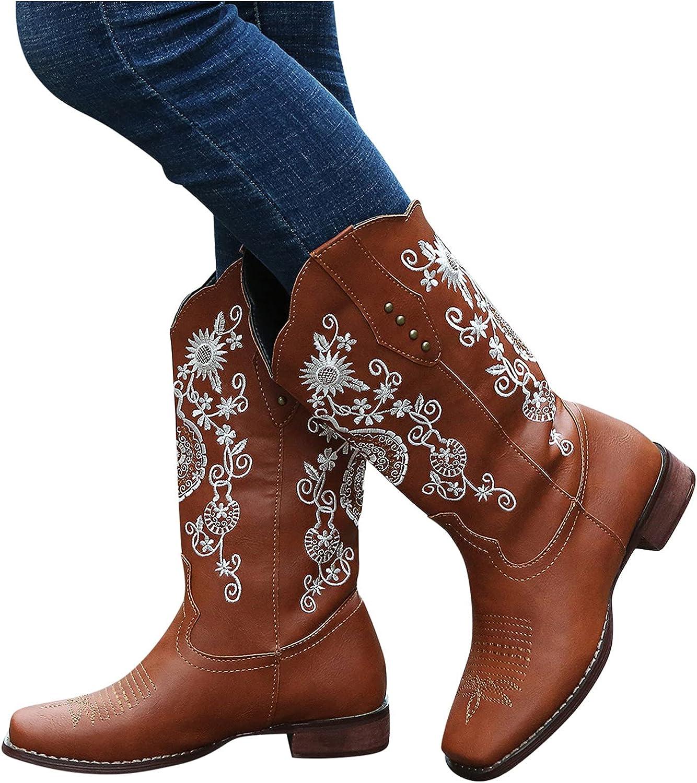 Aniywn Women's Western Boots Chunky Heel Cowgirl Cowboy Mid
