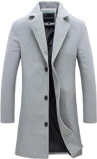 WangsCanis Cappotto da Uomo Giacca di Media Lunghezza in Lana Casual da Ragazzo Trench da Giacca Stile Business