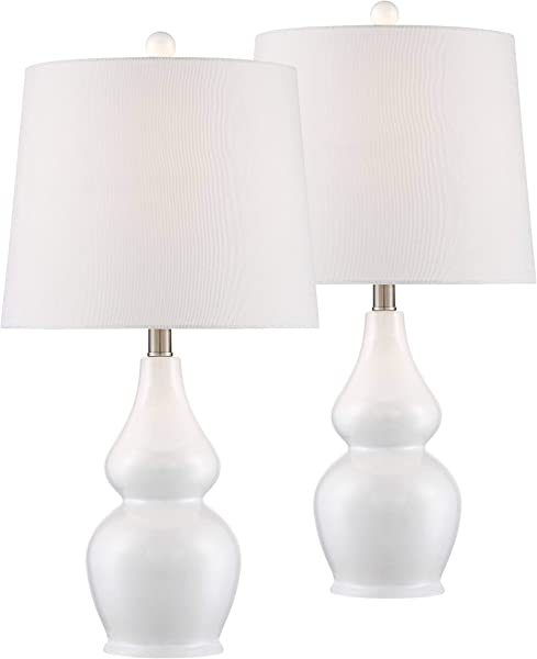 Jane Modern Table Lamps Set Of 2 Ceramic White Double Gourd Drum Shade For Living Room Family Bedroom Bedside Nightstand 360 Lighting