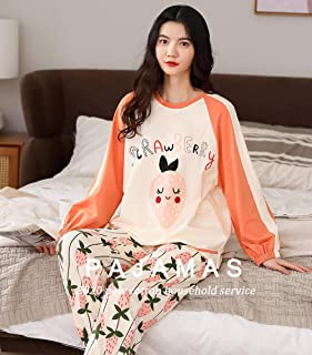 Pijama Mujer PrimaveraRopa De Casa Bonita para Mujer, Ropa De Dormir Suave Informal, Conjuntos De Pijamas De Dos Piezas De Algodón, Pijamas Cálidos De Primavera Y Otoño