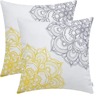 CaliTime Pack of 2 Cozy Fleece Throw Pillow Cases Covers for Couch Bed Sofa Vintage Dahlia Floral Both Sides 18 X 18 Inches Yellow Grey