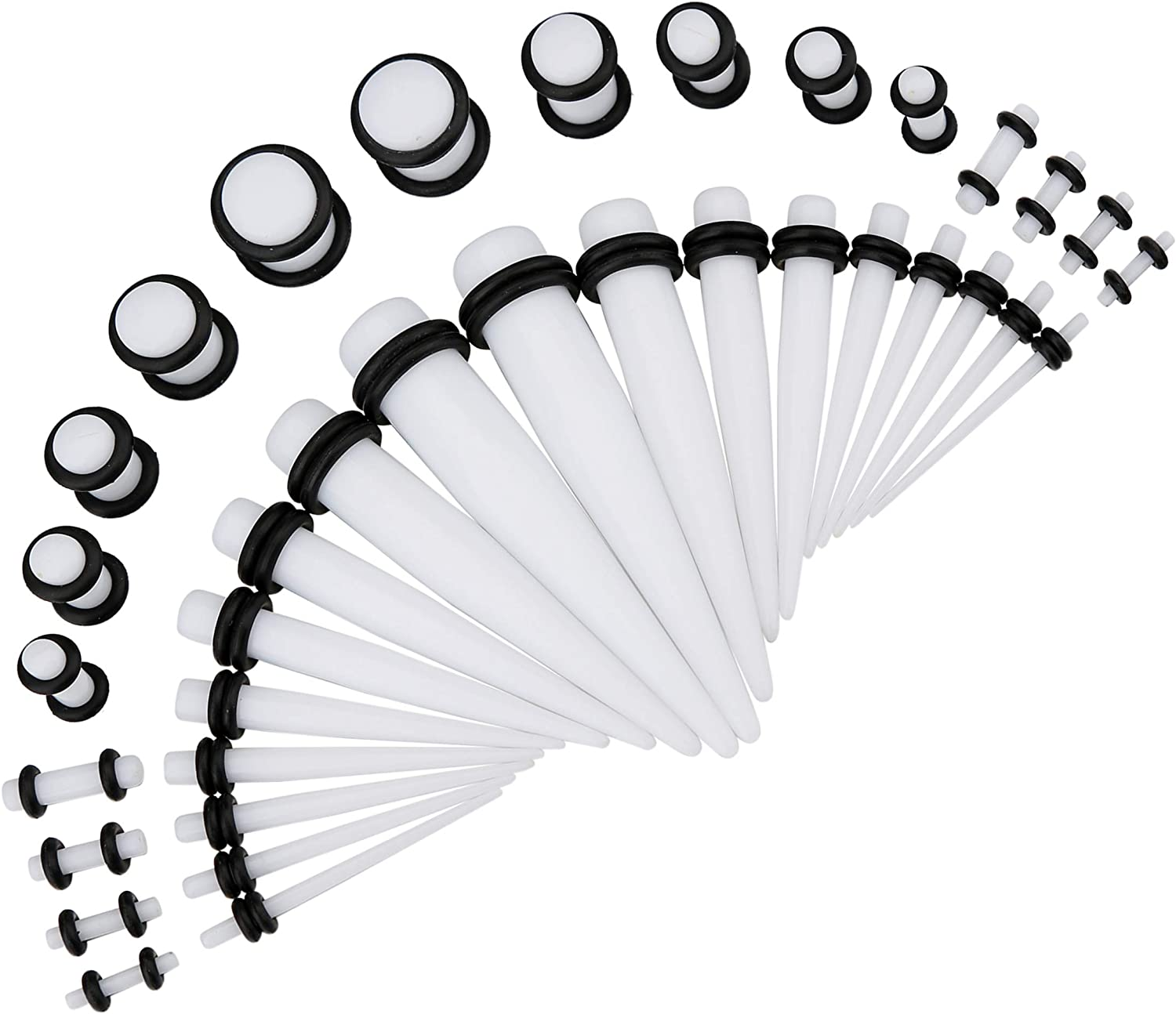 VILYWON 50Pcs Kit 14G-00G Ear Gauges Acrylic Tapers and Plugs Silicone Tunnels Set Body Piercing Jewelry Box