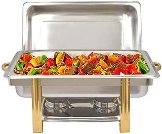 Chauffe-Plat 9 litres Set Professionnel Chafing Dish Anti-Goutte Réchaud Buffet en Acier Inoxydable Finition Miroir pour B...