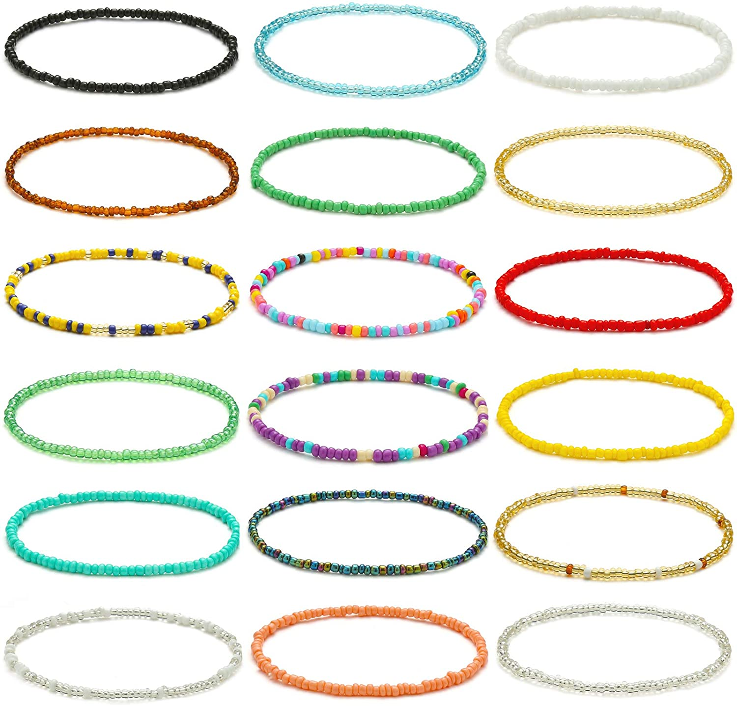 XIJIN 18 Max 55% OFF Pieces Elastic Beaded Anklets Women for Handmade Popular product Girls