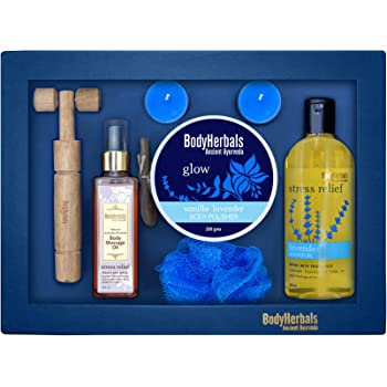 BodyHerbals Lavender Collections Gift Set For Birthday, Anniversay & Wedding – Bath & Body Set (Lavender Shower Gel 200ml, Lavender Body Polisher 200gms, Lavender Vanilla Body Massage Oil 100ml, Wooden Massager, Bath Puff, 2 Tea Lites)