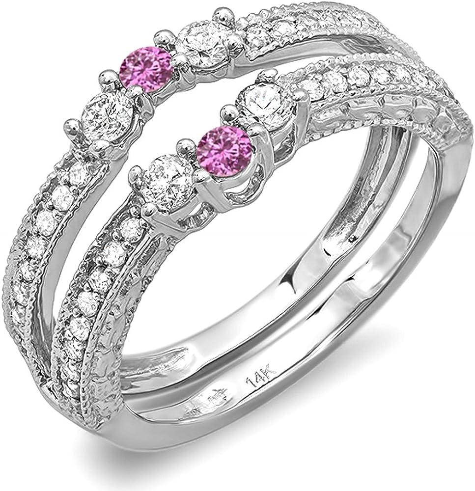 Dazzlingrock Collection 14K Round Pink Sapphire and White Diamond Ladies Wedding Band Enhancer Guard, White Gold