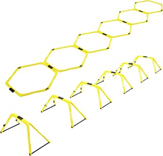 TFE Hexagonal Speed Agility Training Rings - Adjustable Transformable Footwork Hurdles, Speed Ladder for Football, Rugby, Combat Sports Drills - Include Storage Bag and Jump Rope - Made in Taiwan