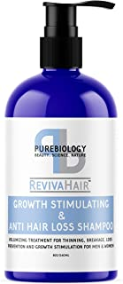 Pure Biology Hair Growth Stimulating Shampoo with Biotin, Keratin, Natural DHT Blockers, Vitamins B + E & B...