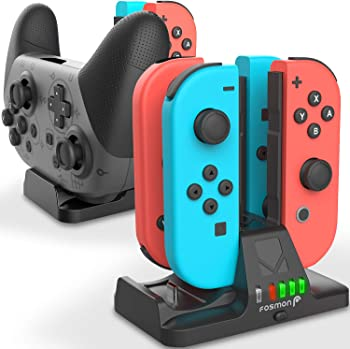 Fosmon Joy Con and Pro Controller Charging Dock, 2-in-1 Dual Charger