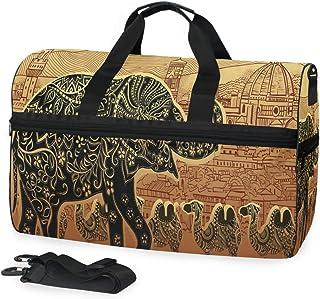 b3c1ebb12022 SLHFPX Gym Bag Silhouette Elephant Camel Ethnic Duffle Bag Large ...