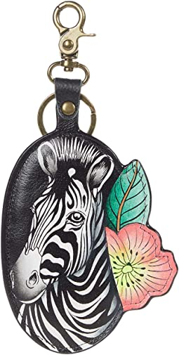 Painted Leather Bag Charm - K0030