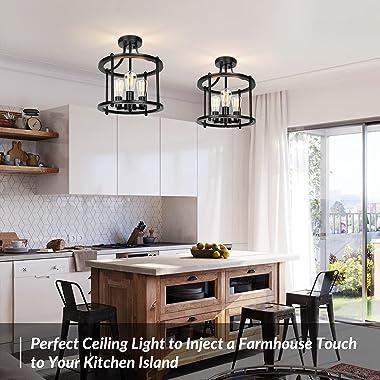 Farmhouse Semi Flush Mount Ceiling Light Fixture Black Industrial Kitchen Ceiling Lamp Rustic Vintage Ceiling Mount 3-Light C
