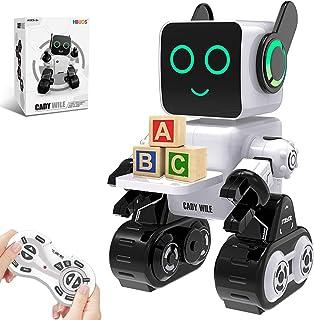 ربات های HBUDS برای کودکان ، ربات کنترل از راه دور ربات هوشمند تعاملی LED نور صحبت می کند حرکت رقص ساخته شده در بانک سکه کیت ربات قابل شارژ RC قابل برنامه ریزی برای پسران ، دختران ، سن 8 سال (سفید)