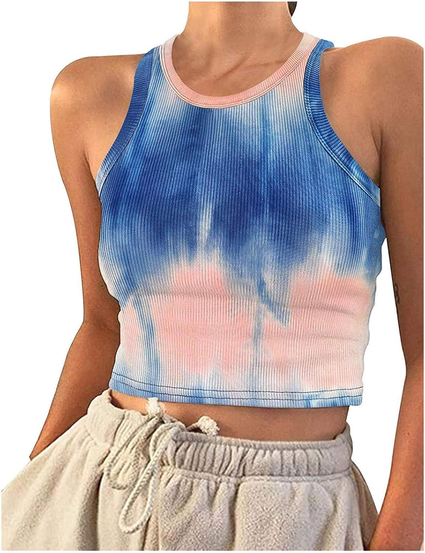 Women 2021 Summer Fashion Vest Must-have Streetwear Tie-dye Printed Sleeveless Short Tops Slim Pullover Vest