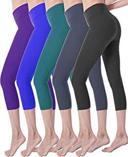 Ultra Soft High Waisted Yoga Capri Leggings for Women Opaque Stretch Tummy Control Pants One Size & Plus Size