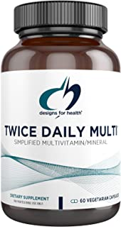 Designs for Health Twice Daily Multi - Iron-Free Adult Multivitamin Supplement with Active Folate Quatrefolic + Chelated M...