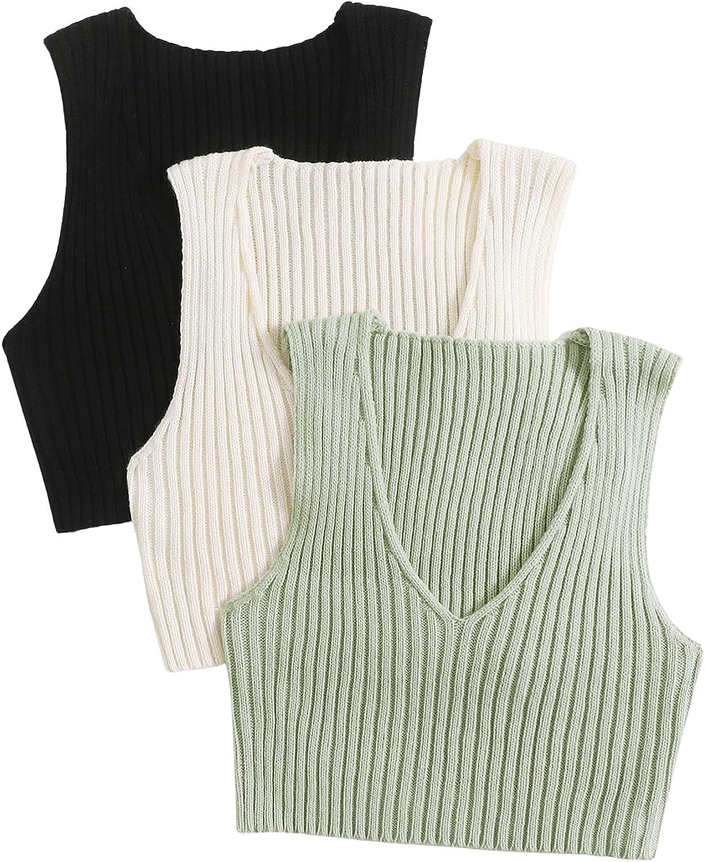 SweatyRocks Women's 3 Pack Sleeveless V Neck Knit Sweater Vest Crop Tank Top