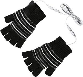 手袋 USB接続で加熱手袋 ヒーター手袋 指なし手袋 USB電源供給 温かい ヒーター内蔵 洗濯可能 防寒対策 男女兼用 スキーなど室外活動用 ブラック