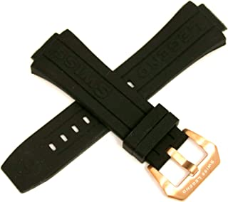 28MM Black Silicone Watch Strap Stainless Rose Gold Buckle fits 46mm Trimix Diver Watch