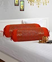 Stylo Culture Indian Polydupion Cylindrical Tube Pillow Bolster Pillow Covers Orange Jacquard Brocade Border Paisley Large Couch Round Cylinder Cushion Covers (Set of 2)   30x15 Inches (76x38 cm)