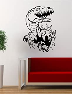 dinosaur bursting through wall