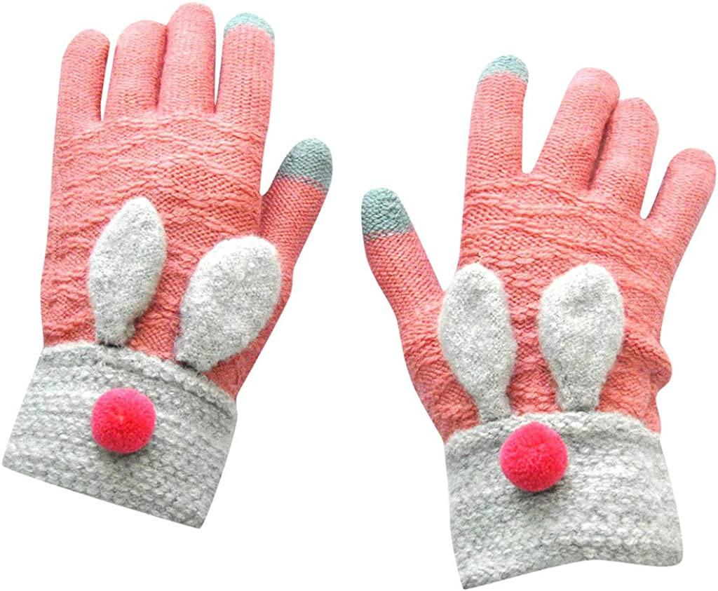 Jchen Women/Girl Cute Cartoon Winter Warm Gloves Full Finger Mittens Cold Weather Gloves Gifts for Christmas New Year