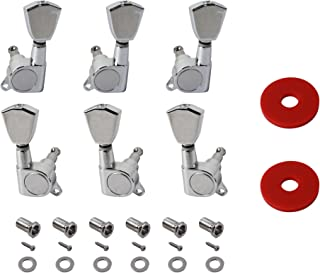 YMC TP30 Series 6 Pieces Guitar Parts 3 Left 3 Right Machine Heads Knobs Guitar String Tuning Pegs Machine Head Tuners for Electric or Acoustic Guitar With 2pcs Strap Locks,Chrome